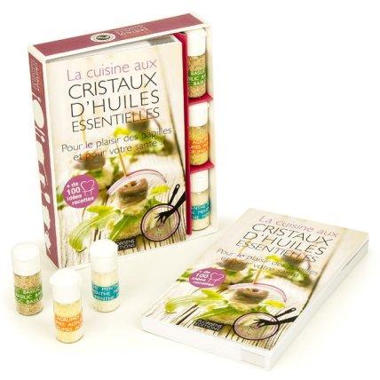 Livre coffret initiation cuisine cristaux d'huiles essentielles Florisens